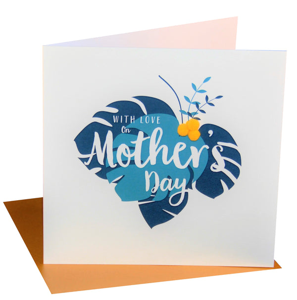 Mother's Day Card, Tropical Leaves, Embellished with colourful pompoms
