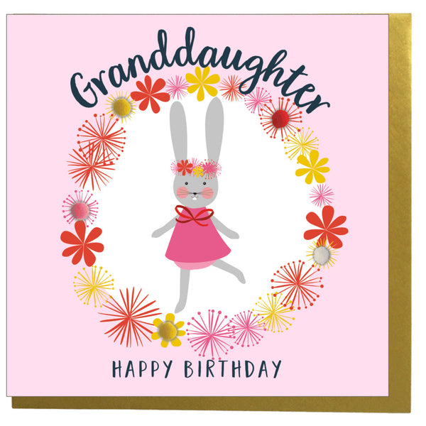 Birthday Card, Flowers, Granddaughter, Happy Birthday, Embellished with pompoms
