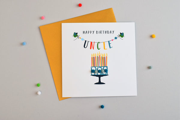 Birthday Card, Cake, Happy Birthday, Uncle, Embellished with colourful pompoms