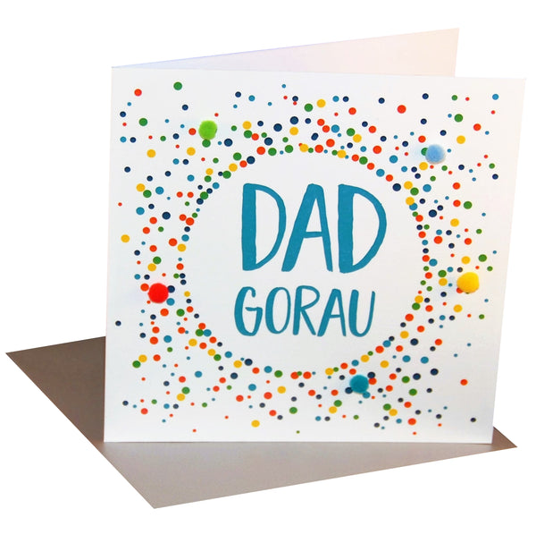 Welsh Father's Day Card, Sul y Tadau Hapus, Dad, Colour DotsPompom Embellished