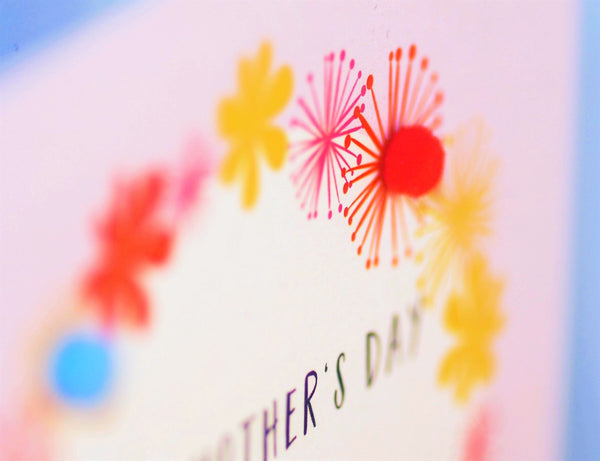 Mother's Day Card, Pink Flowers, Nana, Embellished with colourful pompoms