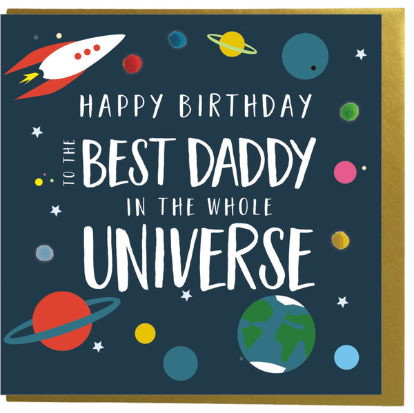 Birthday Card, Spaceship, Best Daddy in the Universe, Embellished with pompoms