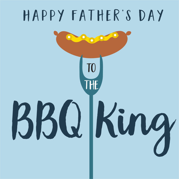 Father's Day Card, BBQ King, Embellished with colourful pompoms
