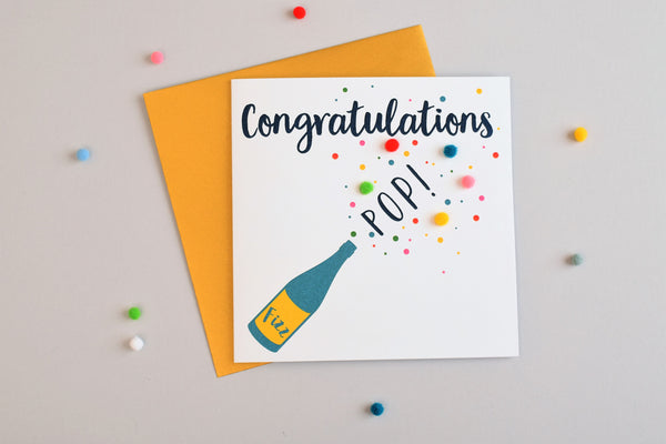 Congratulations Card, Pop, Fizz, Embellished with pompoms