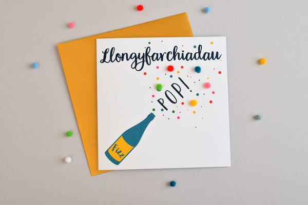 Welsh Congratulations Card, Pop, Fizz, Pompom Embellished