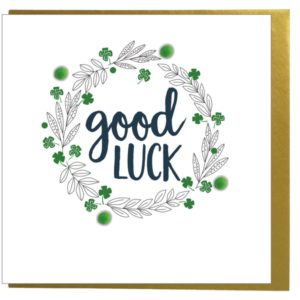 Good Luck Card, 4 leaf clover, Embellished with pompoms