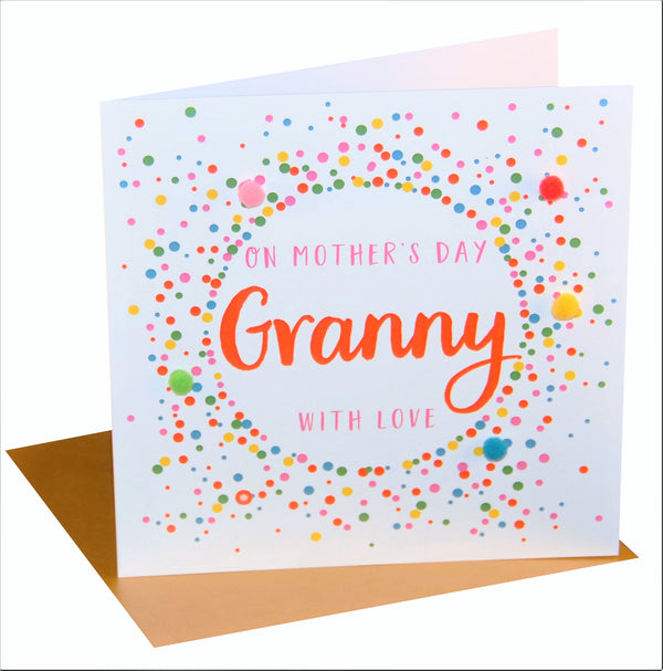 Mother's Day Card, Dotty, Granny with love, Embellished with colourful pompoms