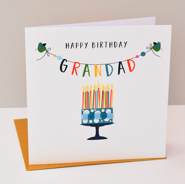 Birthday Card, Cake, Happy Birthday, Grandad, Embellished with colourful pompoms