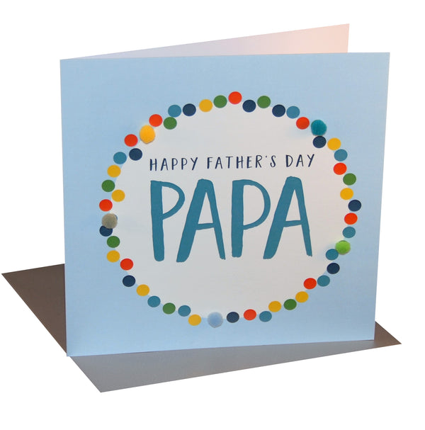 Father's Day Card, Colour Dots, Papa, Embellished with colourful pompoms