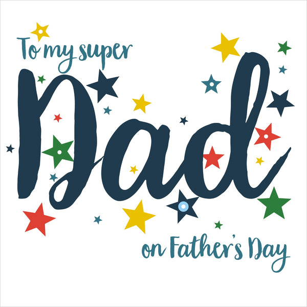Father's Day Card, Super Dad, Embellished with colourful pompoms
