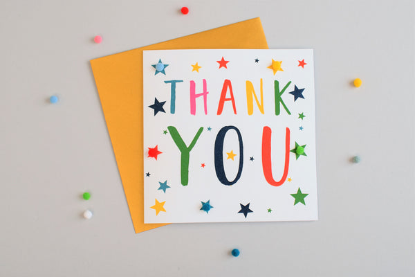 Thank You Card, Stars, Thank You, Embellished with colourful pompoms