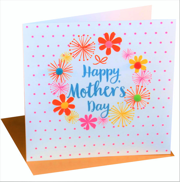 Mother's Day Card, Dots & Flowers, Embellished with colourful pompoms