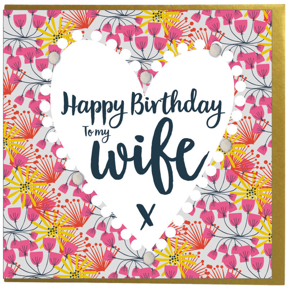 Birthday Card, Hearts of Flowers, Wife, Embellished with pompoms