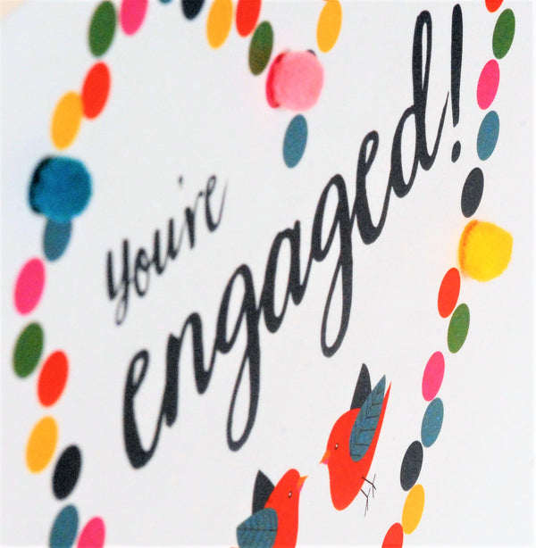 Wedding Card, Dotty Heart, Engagement, Embellished with colourful pompoms