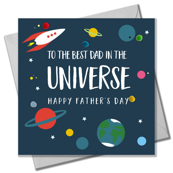 Father's Day Card, Best Dad in the Universe, Embellished with colourful pompoms
