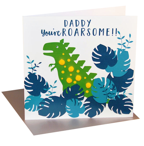 Father's Day Card, Daddy, you're ROARsome, Embellished with colourful pompoms