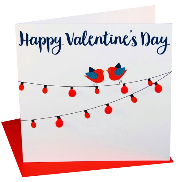Valentine's Day Card, Birds on lights, Embellished with colourful pompoms