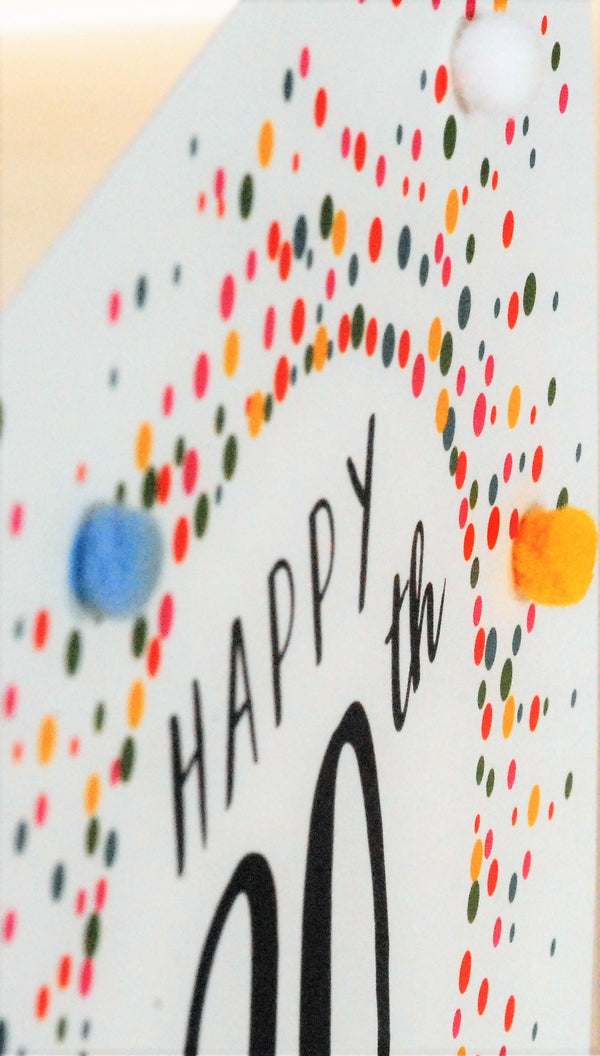 Birthday Card, Dotty 90, 90th , Embellished with colourful pompoms