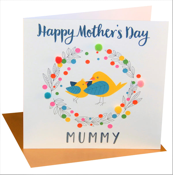 Mother's Day Card, Mummy Bird, Mummy, Embellished with colourful pompoms