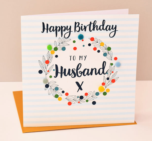 Birthday Card, Blue Stripes, Husband, Embellished with pompoms