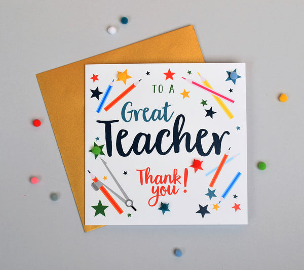 Thank you Teacher Card, School, Embellished with pompoms