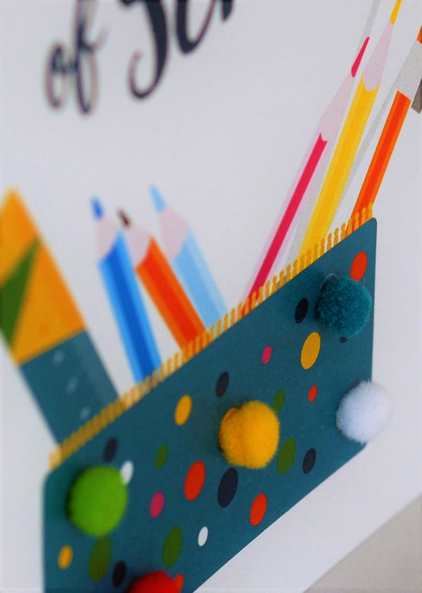 Good Luck Card, Pencil case, First Day of School, Embellished with pompoms