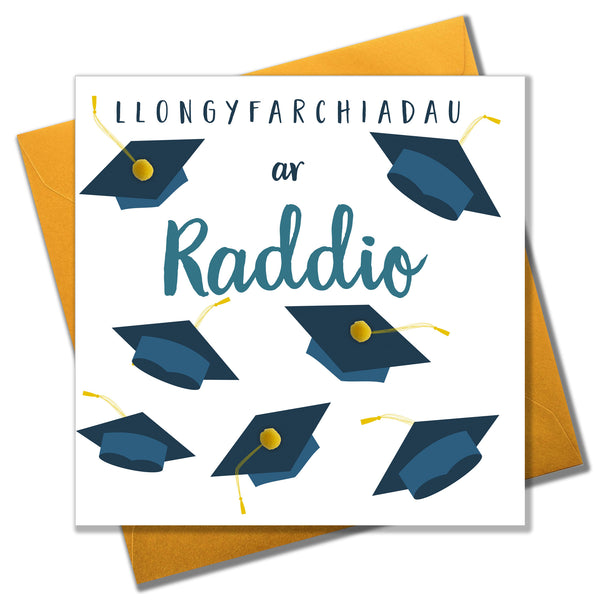 Welsh Graduation Congratulations Card, Mortar Hats, Pompom Embellished