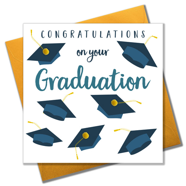 Congratulations on Graduation Card, Mortar Hats, Embellished with pompoms