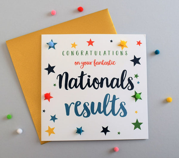 Congratulations National Exam Results Card, Star, Embellished with pompoms