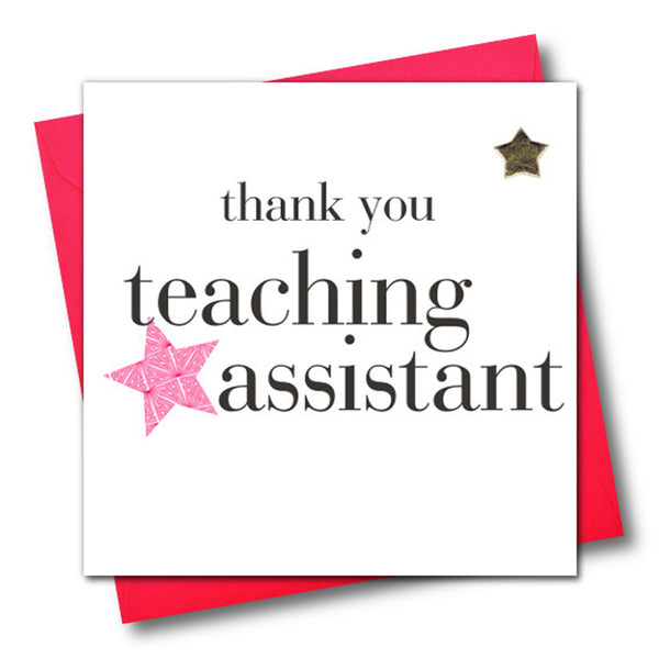 Thank You Teaching Assistant Card, Pink Star, Embellished with a padded star