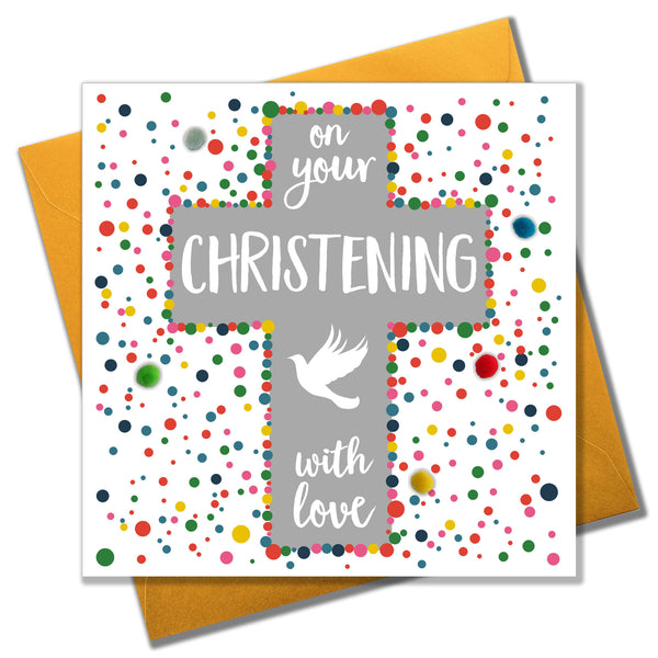 Christening Baptism Card, Cross and Dove, with love, Embellished with pompoms