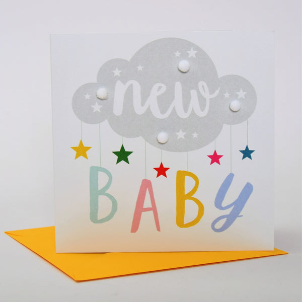 Baby Card, Mobile, New Baby, Embellished with colourful pompoms