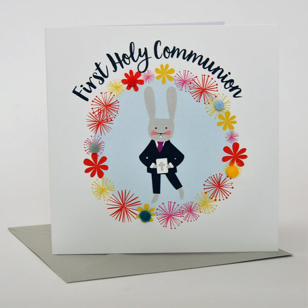First Holy Communion Card, Blue Flowers, Embellished with pompoms