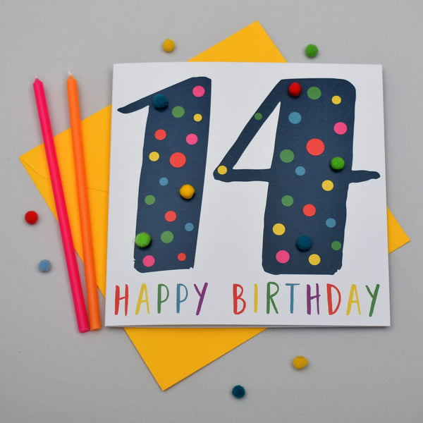 Birthday Card, Age 14 - Blue, 14 Happy Birthday, Embellished with pompoms