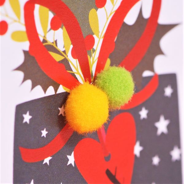Christmas Card, Presents, Both of You, Embellished with colourful pompoms