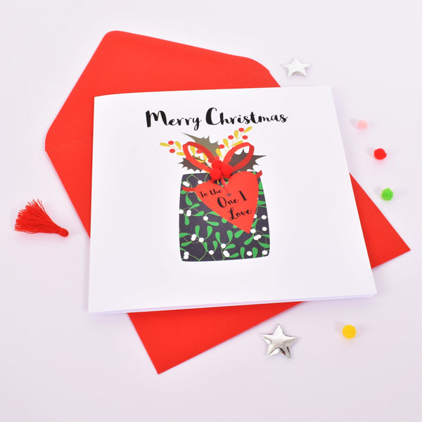 Christmas Card, Present with Heart Tag, The One I Love, Embellished with pompoms