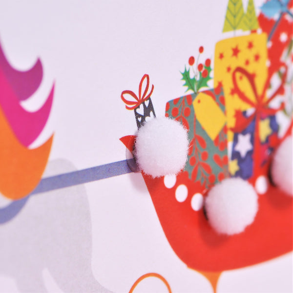 Christmas Card, Unicorn Sleigh, Lovely Daughter, Embellished with pompoms