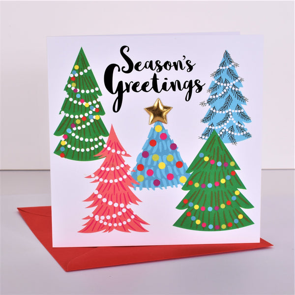 Christmas Card, Season's Greetings, Embellished with a shiny padded star