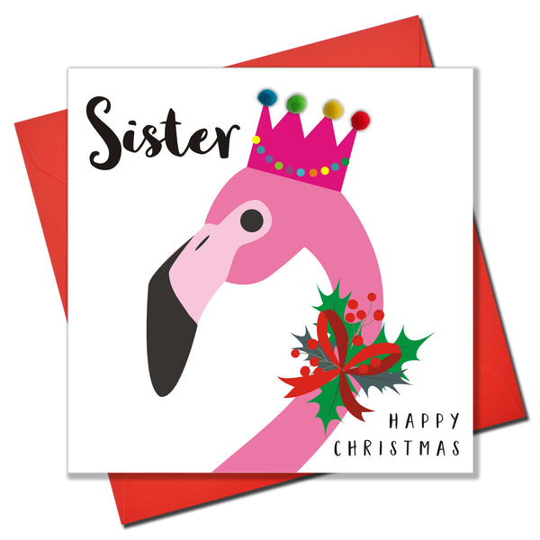 Christmas Card, Flamingo, Sister, Embellished with pompoms