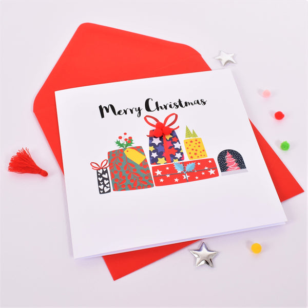 Christmas Card, Pile of Presents, Embellished with colourful pompoms