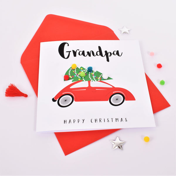 Christmas Card, Christmas Tree on Car, Grandpa, Embellished with pompoms