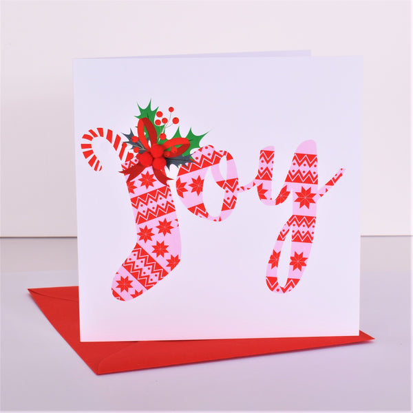 Christmas Card, Christmas Stocking, Joy, Embellished with colourful pompoms