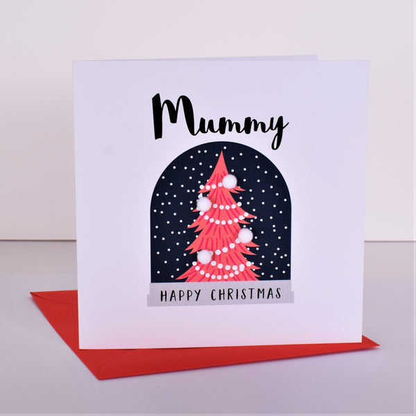 Christmas Card, Snow Globe, Mummy Happy Christmas, Embellished with pompoms