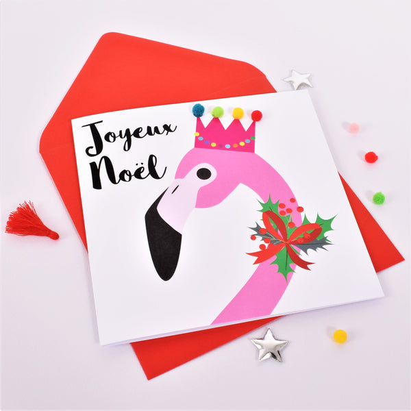 Christmas Card, Flamingo, Joueux Noel, Embellished with colourful pompoms