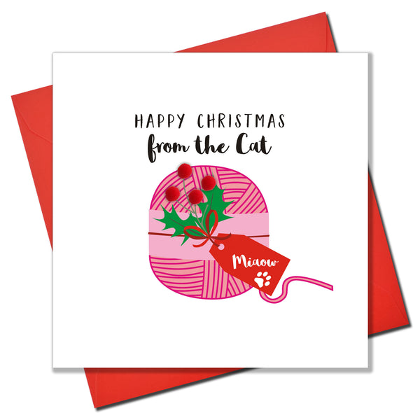 Christmas Card, Ball of Pink String, from the Cat, Embellished with pompoms