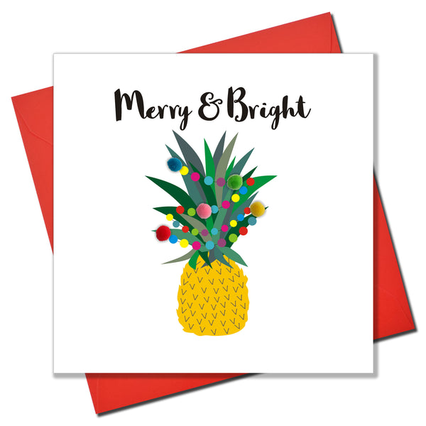 Christmas Card, Pineapple and Fairy Lights, Embellished with colourful pompoms
