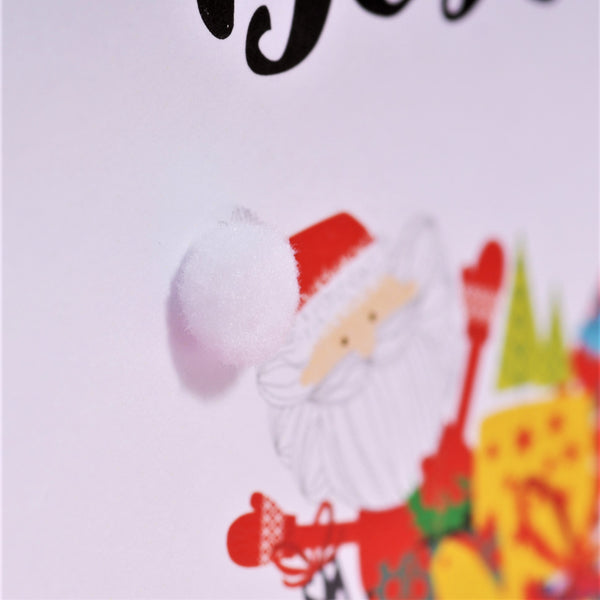 Welsh Dad Christmas Card, Nadolig Llawen, Santa Sleigh, Embellished with Pompoms
