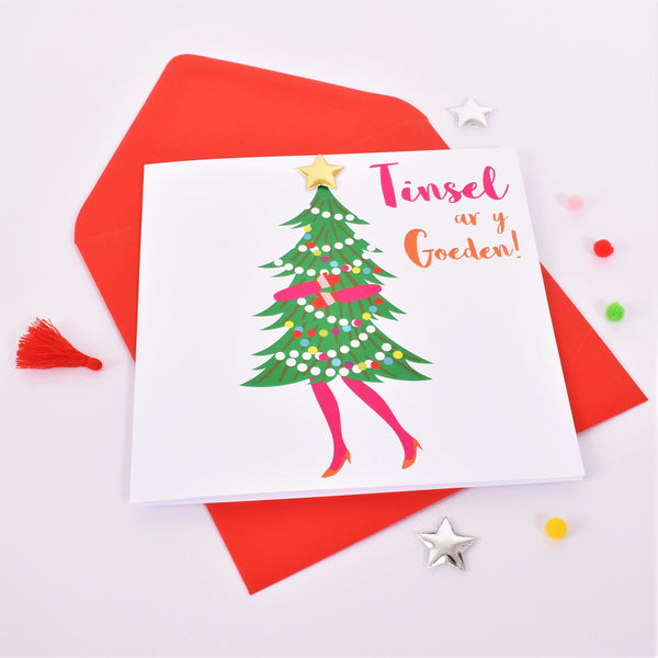 Welsh Christmas Card, Nadolig Llawen, Ohh Christmas Tree padded star embellished