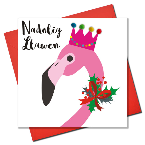 Welsh Christmas Card, Nadolig Llawen, Flamingo, Embellished with Pompoms