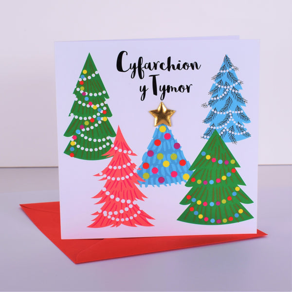 Welsh Christmas Card, Nadolig Llawen, Christmas Trees, padded star embellished